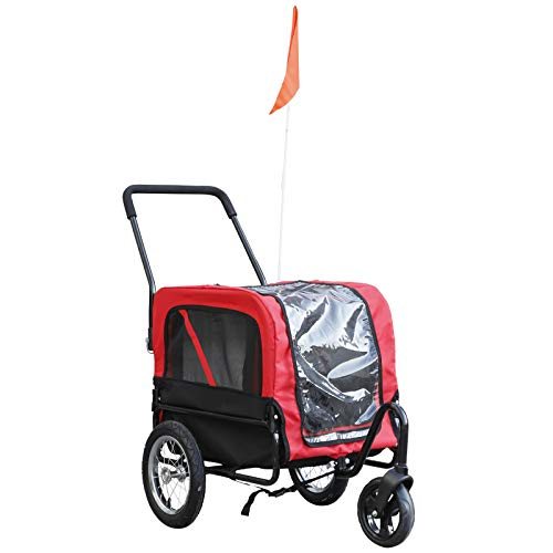 Aosom Elite-Jr Dog Bike Trailer 2-in-1 Pet Stroller Cart Bicycle Wagon Cargo Carrier Attachment for Travel with 360-Degree Swivel Wheels & Large Easy Entry, Red