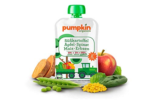 Pumpkin Bio 8x 100g Gemüse-Quetschie aus Süßkartoffel, Spinat, Mais, Erbsen mit Apfel