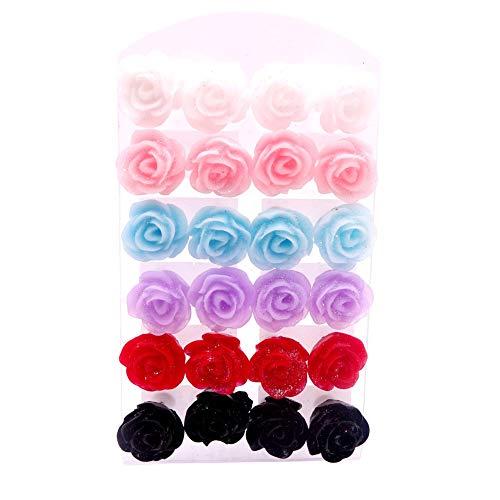 Kalaokei Aux Rose Decor, Colorido, Antialérgico 12 Pares Realista Falso Colorido Flor Rosa Encanto Oreja Stud Pendientes Joyería Regalo Color aleatorio