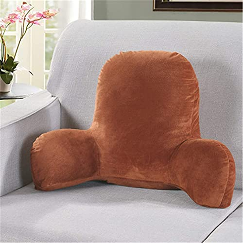 Almohada de Respaldo Lumbar en Forma de T, Almohada de Respaldo para Cama, Cojín de Respaldo Soporte de Respaldo para sofá, sofás, salón, sillón reclinable (Braun, 52 * 28 * 20cm)