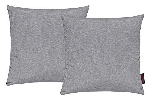 Fino Kissenhülle ca. 40 x 40 cm hochwertig & knitterarm Farbe 03 Grau (2er Set)