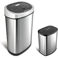 Nine Stars Stainless Steel 13.2 gal. / 2.1 gal. Sensor Trash Can Set