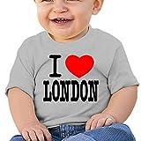 Huahai Playera de manga corta para niño, con texto 'I Love London', I Love You, para exteriores, para bebé, camiseta con gráficos activos, gris, 6M