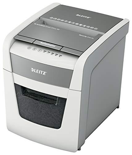 Leitz IQ Autofeed Small Office Partikelschnitt Aktenvernichter P4, Automatisch, 50 Blatt, 20 Liter Abfallbehälter, Weiß, 80350000