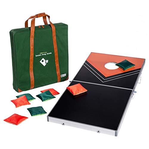 tenalach LED Glow-in-The-Dark Bean Bag Toss Cornhole Game   Includes Folding Aluminum Board with LED Target, 8 LED Bean Bags, and Premium Carrying Case