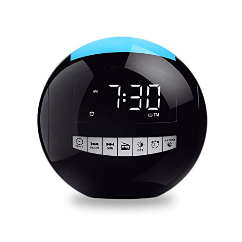 Onlyee Digital Alarm Clock Radio with FM Radio, Battery Operated, 3 Loud Alarm Sounds Adjustable Volume, 7 Night Light, LED Display with 5 Dimmer, Dual USB Ports, Snooze, Sleep Timer for Bedrooms…