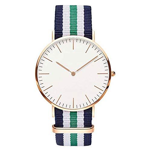 ZSLLO Heißer nylonband wasserdicht damenuhr top-Marke Uhren Mode lässig Station Armbanduhr Silber (Farbe : E)