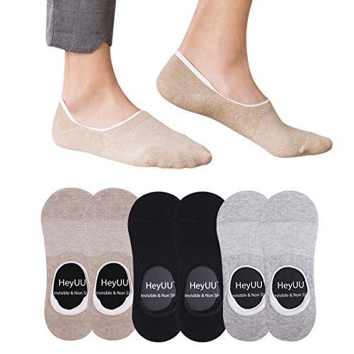 HeyUU 6 Paar Herren und Damen Baumwolle Kurze Sneakersocken Füßlinge Unsichtbare Sneaker Socken Mit 8 Rutschfeste Silikonstreifen(2x Schwarz+2x Grau+2x Beige,47-50)