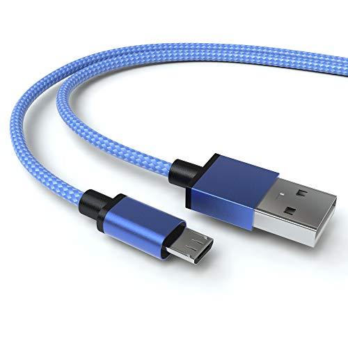 JAMEGA – 2m Premium Micro USB Kabel | Nylon geflochtenes USB Ladekabel Datenkabel für Micro USB Geräte kompatibel mit Samsung, HTC, Huawei, Sony, Nokia, Nexus, Kindle, PS4 Xbox Controller – Blau