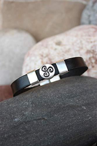 Pulsera de piel, símbolo celta del Triskel, Amuleto, Talisman, Brazalete Lohas, Estilo...