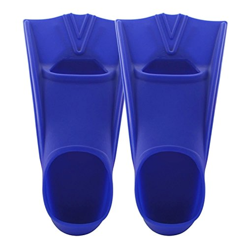 TOPCHAMCES(TM) Rubber Swim Training Fins Flippers for Men, Women and Kids, Short Training Fins for Swimming (Blue, F800(XXL) 44-46)