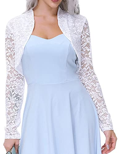 Womens White Lace Bolero Jacket with Long Sleeve (White,S)