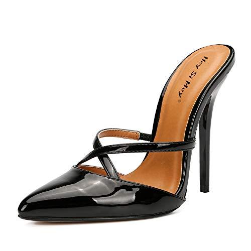 LMZX Mujeres Sexy Tacones Altos Bombas deslizantes Punta Puntiaguda Stiletto Boda Fiesta Zapatos de Vestir de Noche, Damas Zapatos de tacón de cuña Cubiertos con Punta Cerrada,Negro,45