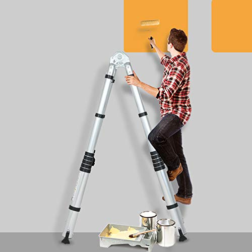 SUNCOO 16.5FT Telescoping Ladder Lightweight, Anti-Slip Aluminum Collapsible Extension Ladder, Quick Button Retraction Multi-Purpose Telescopic Ladders Compact Attic Ladder, 330lbs Max Capacity