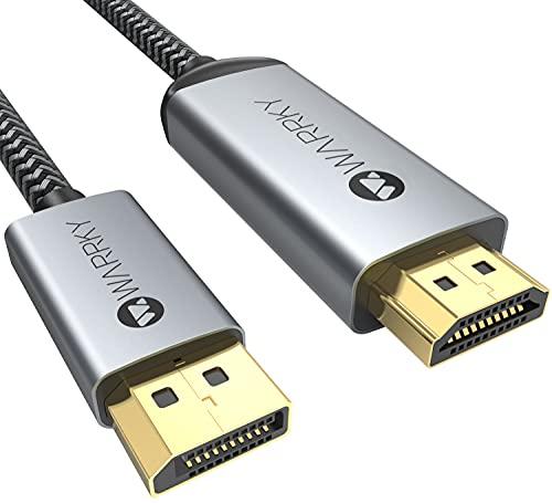 DisplayPort auf HDMI 4K Kabel [Vergoldete, Geflochten, Aluminiumhülse] WARRKY Unidirektional DP auf HDMI Verbindungskabel Kompatibel für Monitor, TV, Projektor, Laptop, PC, AMD, NVIDIA, 1,8m