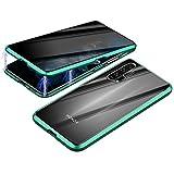 Jonwelsy Anti Espía Funda para Huawei Honor 20 (6,26 Pulgada), Adsorción Magnética Parachoques de Metal, 360 Grados Protección Case Ambos Lados Vidrio Templado de privacidad Cubierta (Verde)