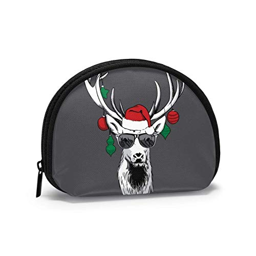 Coin Purse Cool Reindeer with Sunglasses Small Coin Pouch Canvas Wallet Portable Shell Storage Bag