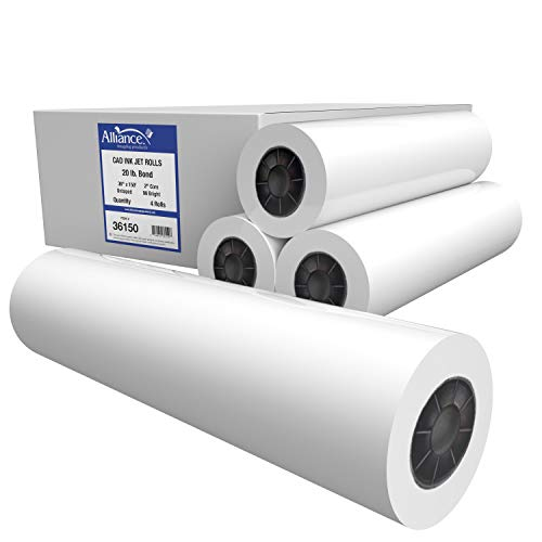 "Alliance CAD Paper Rolls, 36"" x 150', 96 Bright, 20lb - 4 Rolls Per Carton - Ink Jet Bond Rolls with 2"