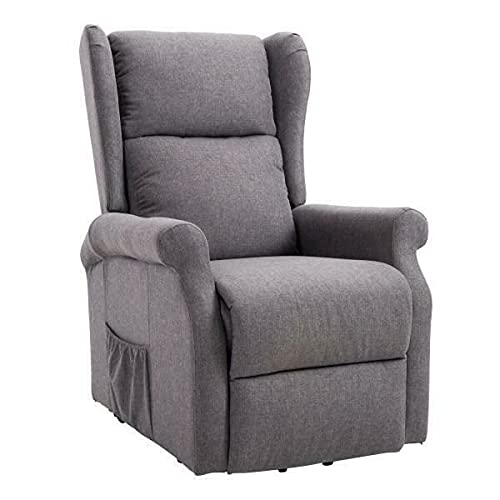 BiYeer Grey Sofa Electric Lift Chair Recline Grey Armchair Recliner Couch Elderly