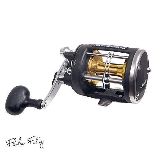 FLADEN MAXXIMUS LD Lever Drag (15lb & 30lb CLASS) 4 Ball Bearing Sea Multiplier Reel with Anodized Aluminium Spool - For Sea Boat fishing (LD15 - with level wind) [11-2015]