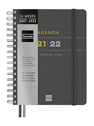 Finocam Agenda 2021 2022 Semana vista vertical Septiembre 2021, Diciembre 2022 16 meses 4º, 155x217 Tempus 16 meses Negro Español