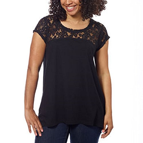 DKNY Jeans Womens Short Sleeve Lace Top (Medium, Black)