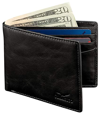 Wallet for Men's - Genuine Leather Slim Bifold RFID Blocking Packed in Stylish Gift Box