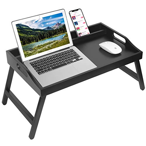 Frühstücks-Bett-Tablett mit Griffen, zusammenklappbare Beine, Bambus-Bett-Tablett mit Medien-Schlitz, faltbare Platte, Tablett, Laptop-Tisch, Snack-, TV-Bett-Tablett, Küchen-Serviertablett