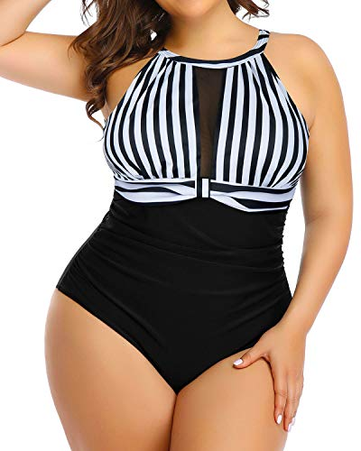 Aqua Eve Women Plus Size One Piece Bathing Suits Ruched Tummy Control Swimsuit High Neck Mesh Swimwear Black 18W