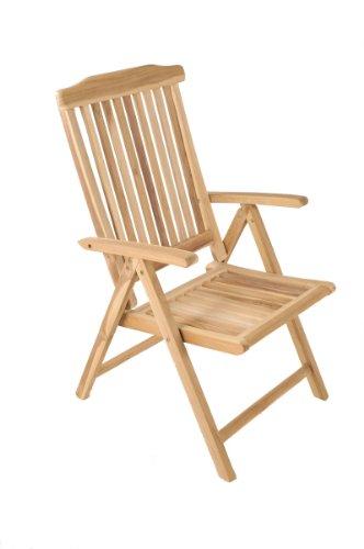 SAM Garten Hochlehner Aruba, 5-Fach Verstellbarer Klappstuhl, Gartenmöbel aus Teak-Holz
