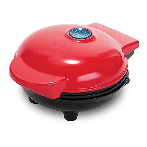 Home Electric Mini Waffle Maker, la máquina para panqueques individuales, galletas, huevos y otros desayunos, almuerzos o bocadillos para llevar - Rojo