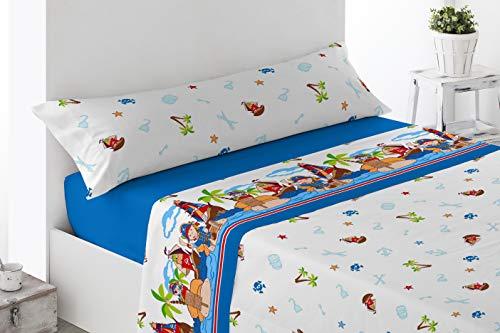 Juego de sábanas Infantiles de Microfibra Transpirable Mod. Piratas Blue (Cama de 105 cm (105_x_190/200 cm))