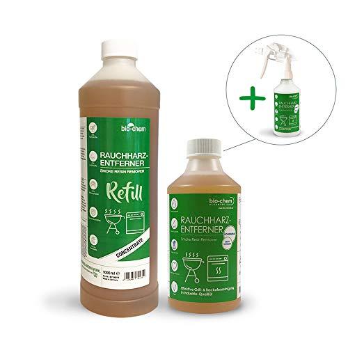 Bio-Chem Rauchharz-Entferner Grill & Backofenreiniger 500 ml Konzentrat + Nachfüllflasche 1000 ml bis zu 60 L Reinigungslösung inklusive Mischflasche