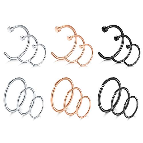 LAURITAMI 18stk Nasenring Nasenpiercing Fake Nase Lippe Ring Set 6/8/10mm Septum Helix C Form 20/18G Chirurgenstahl Piercing Schmuck