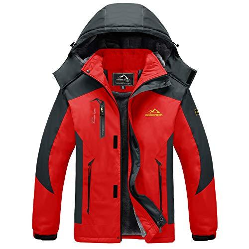 MAGCOMSEN Wanderjacke Herren Fleece Outdoorjacke Warm Winterjacke Herren Übergangsjacke Atmungsaktiv Windjacke Softshell Trekkingjacke für Camping Ski Sport Rot XL