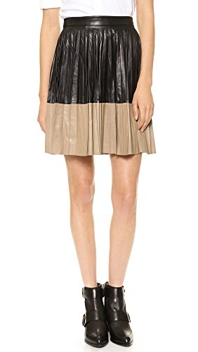 Robert Rodriguez Women's Pleated Color block Leather Flared Skirt, Black, 8