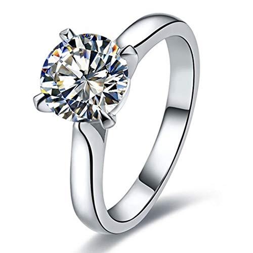 BQZB Anello Promozione Anello della Migliore Marca Anello con Diamanti Sintetici drammatici Anello da Donna in Argento Sterling Gioielli in Oro Bianco