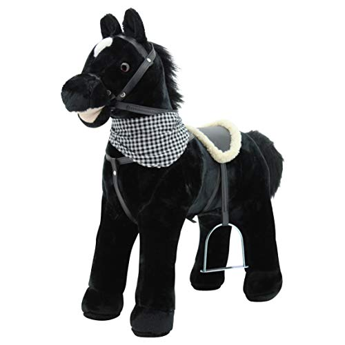 """Sweety Toys 12664 Stehpferd Plüsch Pferd BLACKY """" My Little Pony"""" mit Funktion Sound Pferde Galopp und Gewieher, Sattel und Steigbügel"""