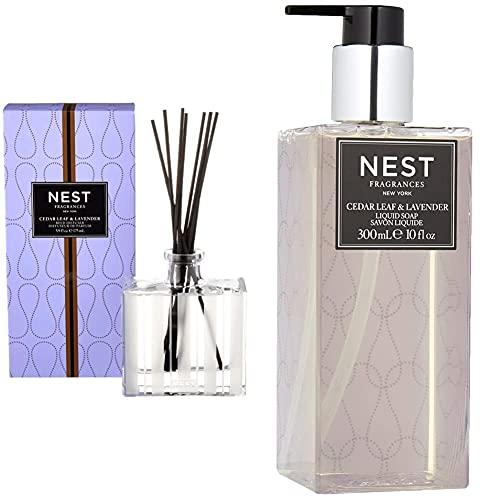 NEST Fragrances Reed Diffuser- Cedar Leaf & Lavender , 5.9 fl oz & Scented Liquid Hand Soap- Cedar Leaf & Lavender , 10 fl oz