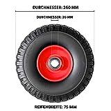 FRONTTOOL Sackkarrenrad pannensicher mit Kugellager PU Cross 260, 260 x 85 x 20 mm, Vollgummi, Ersatzrad Sackkarre, Variante:1 Rad
