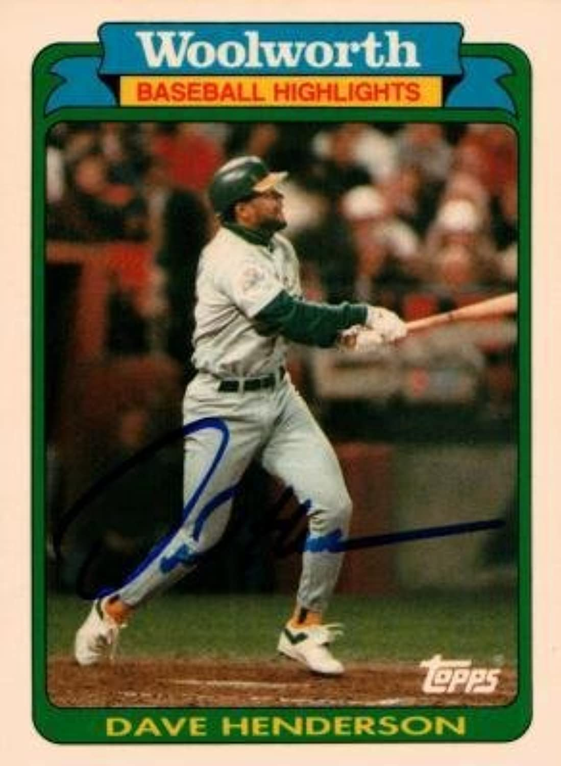Dave Henderson Autographed Baseball Card Oakland 1990 Topps