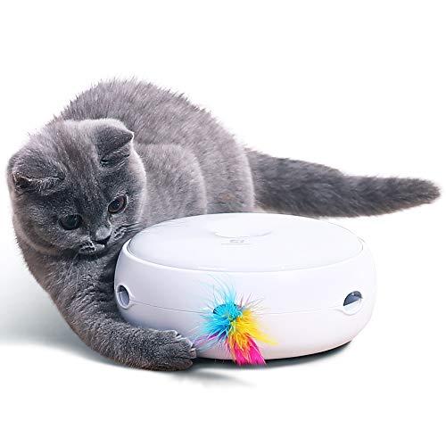 PETTOM Katzenspielzeug Elektrisch Spielzeug mit Feder interaktives Spielzeug für Katzen, Automatisch Rotierend Federspielzeug, Intelligenzspielzeug, Katzenspiel (Inklusive Batterie, Ersatz Feder)