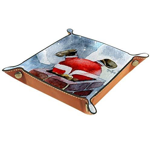 Weißer Weihnachtsmann Klettern Kamin Schmuck Leder Tablett Nachttisch Snap Schnalle Aufbewahrung Würfelhalter Schmuck Organizer für Schlüssel Geldbörse Münzbox Reise PU Valet Tray, 16 x 16 cm