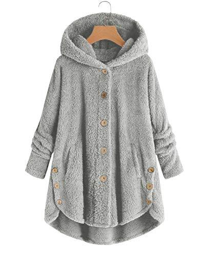 VONDA Womens Fleece Coat Blanket Jumper Hoodie Comfy Long Jacket Teddy Bear Outwear A Light Grey M