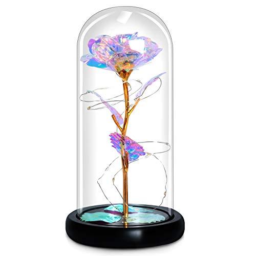 Regalo para mujeres galaxy rose flower in glass domo luz led para su esposa mujeres graduadas, regalos de graduación, cumpleaños, san valentín, aniversario de bodas