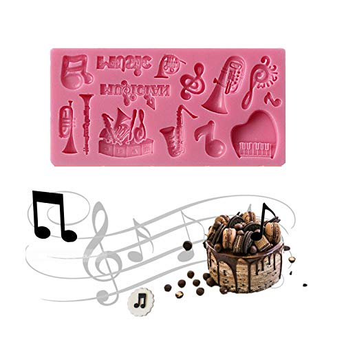 Silicone Fondant Shape Mold Musical Note Guitar Saxophone Piano Instruments for baking, Music Candy Fondant Mold for Kids, Cupcake Decoration, Musical Fondant Embosser, Soap Candy Shape Molds Bass