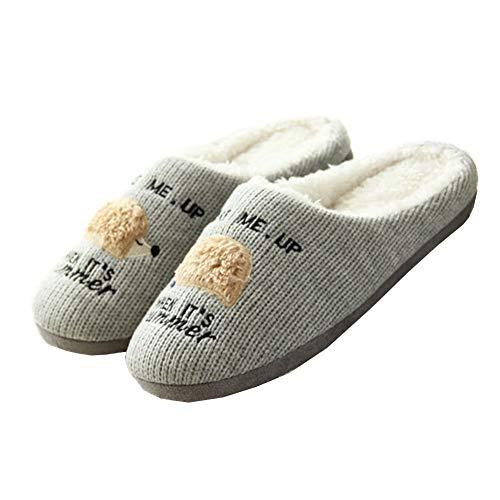 Zanzan Indoor-Pantoffeln Warm Und Komfortabel Gestrickte Niedliche Igel Unisex Home Pantoffeln Grey EUR (42-43)