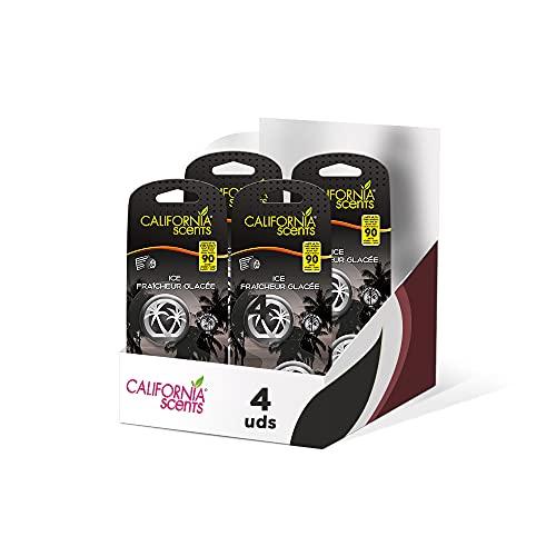 Pack de 4 - California Car Scents - Ambientador de Coche con Fragancia, Olor y Esencias a Ice, Aroma a Hielo, Fresco (Minidifusores, 2UDS)