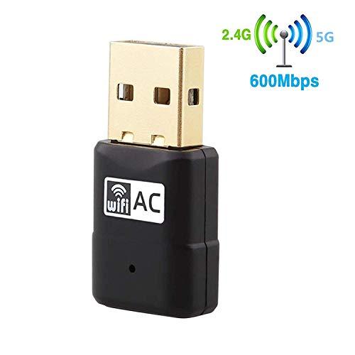 Yizhet WiFi WLAN Adapter Stick USB WiFi Adapter 600 Mbit/s Mini Wireless DualBand (5.8G/433Mbps + 2.4G/150Mbps) WLAN Dongle für Windows 10/8/7/XP 32/64bit, MAC OS, Linux (600 Mbit)