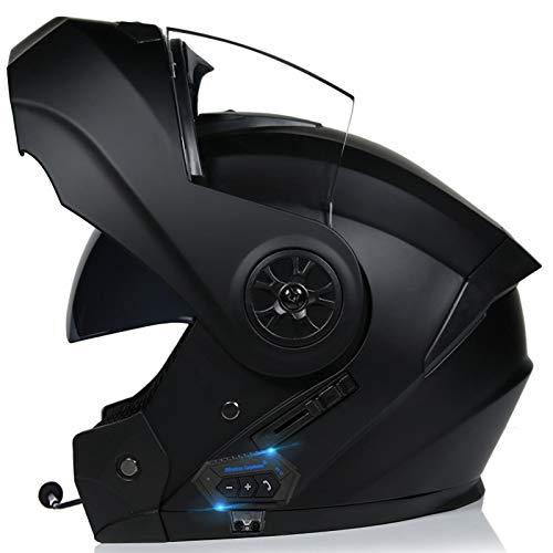 Bluetooth Integrado Casco,Lente Doble Protección Multicapa Respuesta Automática Certificación ECE Apto para Motocicletas Flip Up Casco para Motocicleta C,S54~55CM